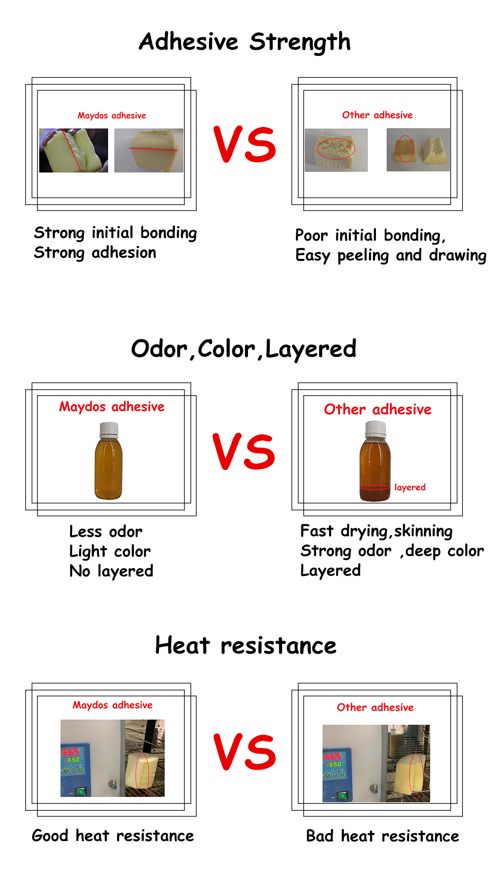 Adhesive Strength Less odor light color no layered Heat resistance